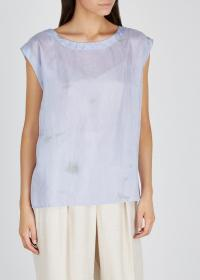 EILEEN FISHER Lilac tie-dye silk top / crinkle fabric