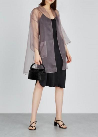 EILEEN FISHER Mauve silk organza kimono ~ luxe sheer jacket