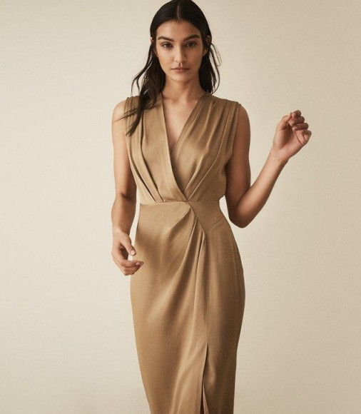 REISS ELAINI WRAP FRONT DRESS GOLD ~ luxe looks