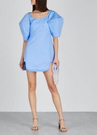 ELLERY Deliberate Distance blue twill mini dress ~ oversized puff sleeved dresses ~ feminine evening wear