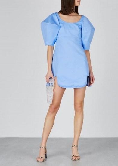 ELLERY Deliberate Distance blue twill mini dress ~ oversized puff sleeved dresses ~ feminine evening wear - flipped