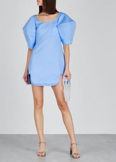 ELLERY Deliberate Distance blue twill mini dress ~ oversized puff sleeved dresses ~ feminine evening wear