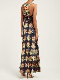 PACO RABANNE Embellished-bodice floral-print satin slip dress in black ~ back detail maxi