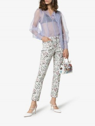 Erdem Sydney Floral Jacquard Skinny Cotton Blend Trousers / feminine summer pants