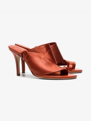 Esteban Cortazar Orange Loop Toe 80 Satin Mules / summer heels