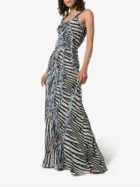 Etro Zebra-Print Ruffled Silk Maxi Dress / grey animal prints