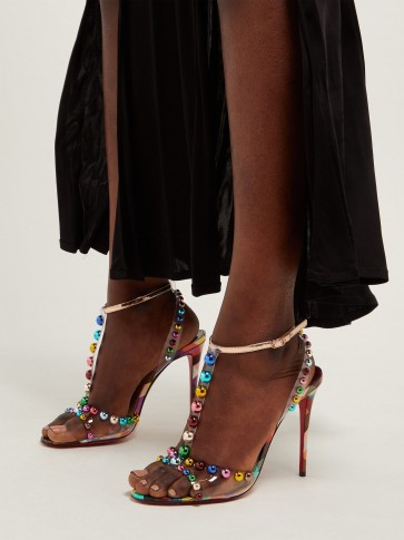 CHRISTIAN LOUBOUTIN Faridaravie 100 studded checked leather sandals ~ multicoloured-stud PVC strappy heels
