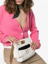 Fendi White Upside Down Flap-Top Leather Belt Bag