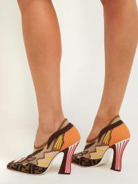 FENDI FFreedom square-toe mesh pumps / crazy retro patchwork courts / designer logo footwear