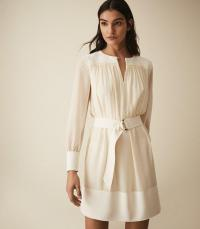 REISS FINN SEMI SHEER BELTED SMOCK DRESS IVORY ~ effortlessly feminine clothing