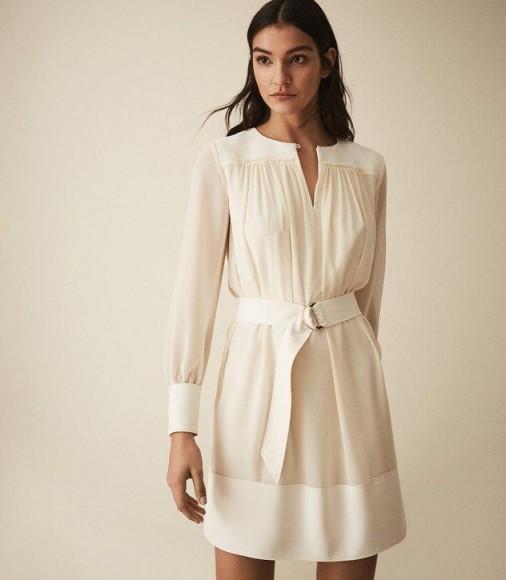 REISS FINN SEMI SHEER BELTED SMOCK DRESS IVORY ~ effortlessly feminine clothing
