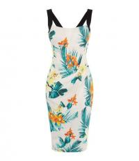 KAREN MILLEN Floral Bodycon Dress in Cream / Multi ~ tropical prints