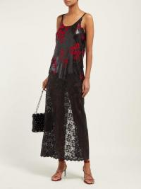 PACO RABANNE Black floral chainmail dress
