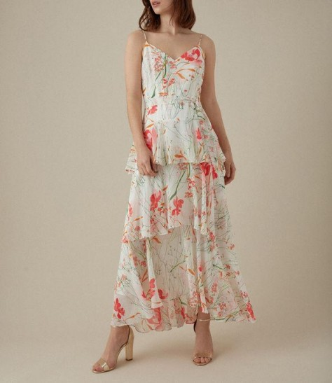 KAREN MILLEN Floral Maxi Dress in Cream / Multi ~ floaty summer event dresses