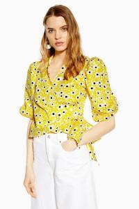 TOPSHOP Floral Poplin Wrap Blouse Yellow / vintage look