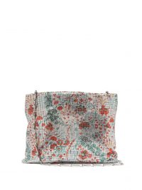 PACO RABANNE Floral-print chainmail shoulder bag in silver