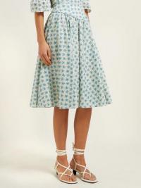 BATSHEVA Floral-print cotton knee-length skirt in blue | modern prairie skirts