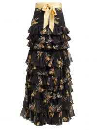 RODARTE Floral-print ruffled silk-blend skirt in black ~ tiered ruffles ~ event wear