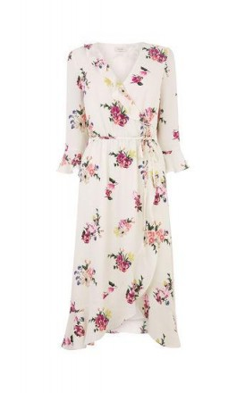 OASIS FLUTE SLEEVE MIDI DRESS in multi natural / ruffled wrap dresses