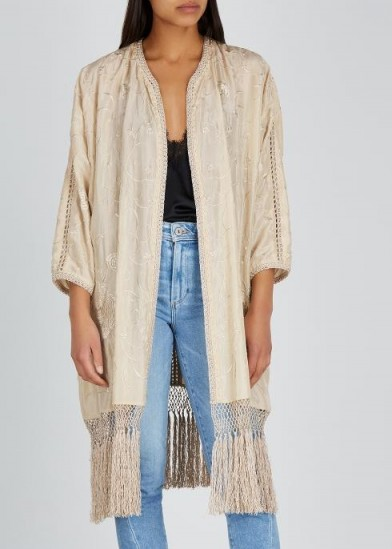 FORTE_FORTE Champagne embroidered silk kimono ~ fringed kimonos ~ opulent lightweight jackets