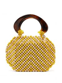 ROSANTICA BY MICHELA PANERO Freddy wooden-beaded pouch bag in neutral and yellow ~ vintage style handbags