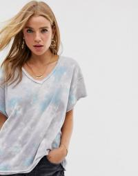 Free People all mine tie dye t-shirt in grey / V-neck tee