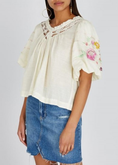 FREE PEOPLE Bohemia embroidered gauze top in Ivory / boho blouses