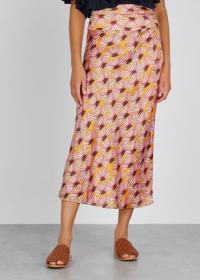 FREE PEOPLE Normani floral-print midi skirt in mustard