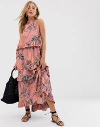 Free People printed tiered maxi dress in mauve – boho summer fashion