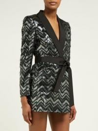BLAZÉ MILANO Funky Fred zigzag silk-blend blazer mini dress in silver