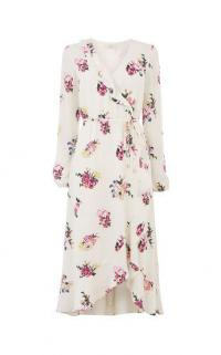 OASIS GARDEN CHIFFON MIDI DRESS / floral wrap dresses