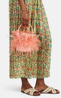 GATTI Tweety Pink Feather-Trimmed Wicker Bucket Bag