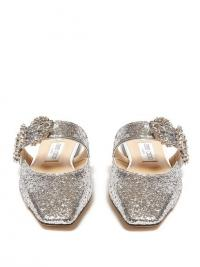 JIMMY CHOO Gee crystal-buckle glittered backless flats in silver