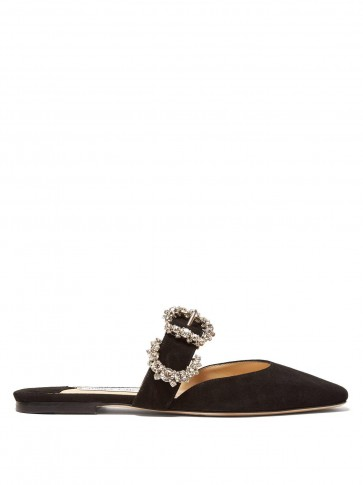 JIMMY CHOO Gee crystal-buckle suede backless loafers in black / luxe flats