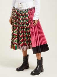 CHOPOVA LOWENA Geometric pleated wool and ripstop midi skirt ~ knitted panel skirts