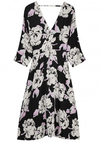 GESTUZ Flica floral-print jacquard dress in black and white / monochrome open back wrap dresses - flipped