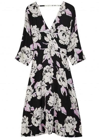 GESTUZ Flica floral-print jacquard dress in black and white / monochrome open back wrap dresses
