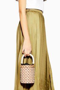 Topshop GHOST Disco Bucket Bag in Nude | small top handle bags