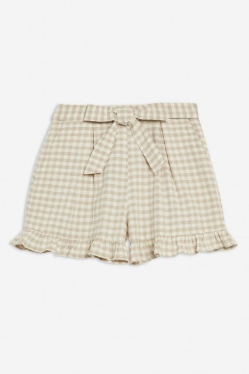 TOPSHOP Gingham Frill Shorts With Linen in Natural