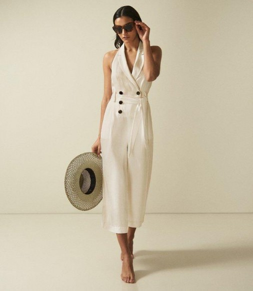 REISS GIOVANNA HALTERNECK JUMPSUIT BUTTERMILK ~ chic vacation wear