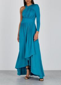 GIVENCHY Blue one-shoulder ruched maxi dress ~ opulent event dresses