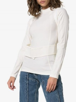 GmbH Ahu Harness Fitted Top in white ~ contemporary clothing