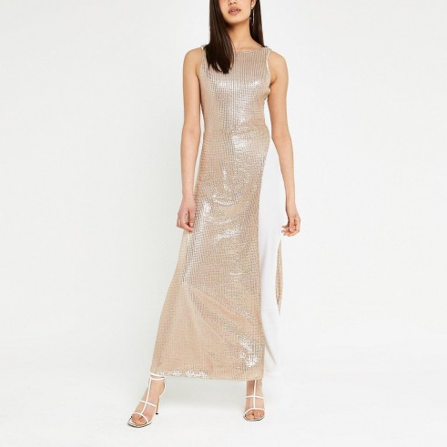River Island Gold sequin dress over trousers | luxe contemporary look