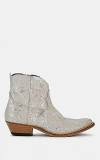 GOLDEN GOOSE Young Glitter Leather Ankle Boots in Silver / glittering western boot