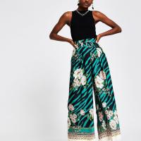 RIVER ISLAND Green printed wide leg trousers / floral pants