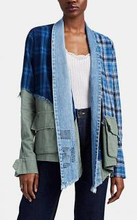 GREG LAUREN Colorblocked Patchwork Kimono Jacket ~ contemporary denim