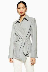 Topshop Boutique Grey Wrap Shirt | chic contemporary shirts