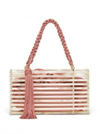 MONTUNAS Guaria tasseled white acetate box bag ~ small summer bags