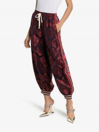 Gucci Contrast Print Silk Track Pants ~ sports luxe ~ cuffed trousers - flipped