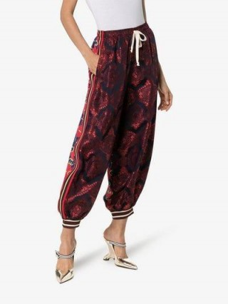 Gucci Contrast Print Silk Track Pants ~ sports luxe ~ cuffed trousers
